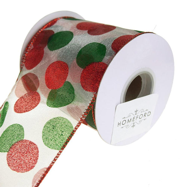 Glitter Dot Sheer Wired Holiday Christmas Ribbon, Red/Green, 4-Inch, 10 Yards