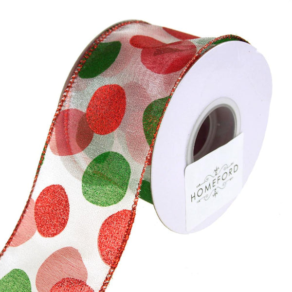 Glitter Dot Sheer Wired Holiday Christmas Ribbon, Red/Green, 10 Yards