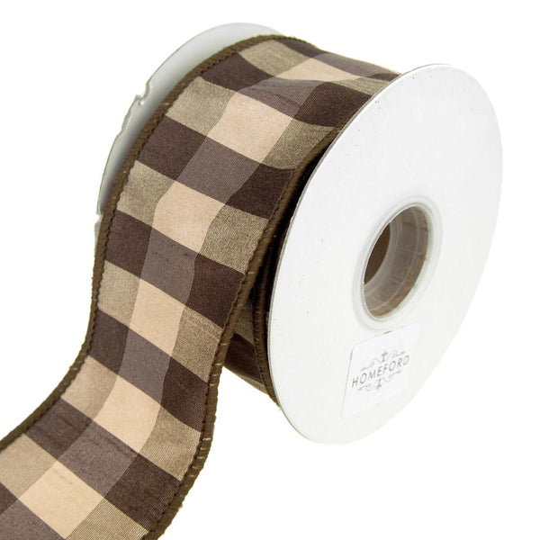 Checkered Silk Wired Edge Ribbon, Brown, 2-1/2-Inch, 10 Yards