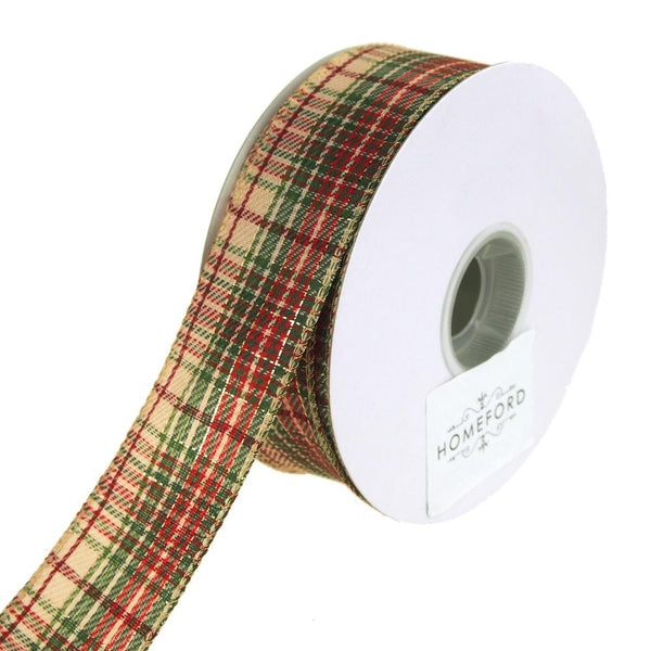 Khaki Plaid Metallic Accent Wired Christmas Holiday Ribbon, 1-1/2-Inch, 20 Yards