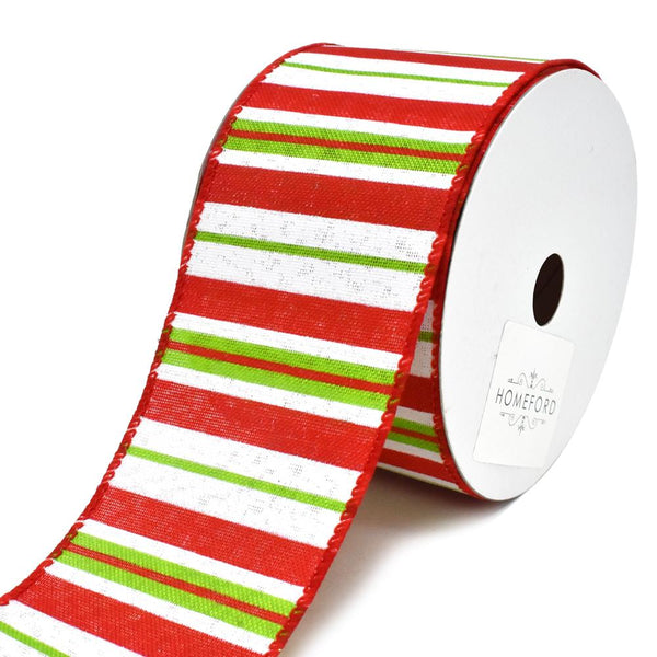 12-Pack, Festive Holiday Striped Wired Christmas Ribbon, 2-1/2-Inch, 10-Yard