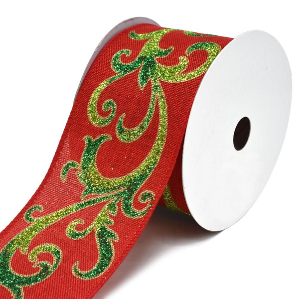 12 Pack, Festive Green Glitter Scroll Wired Linen Christmas Ribbon, Red, 2-1/2-Inch, 10-Yard