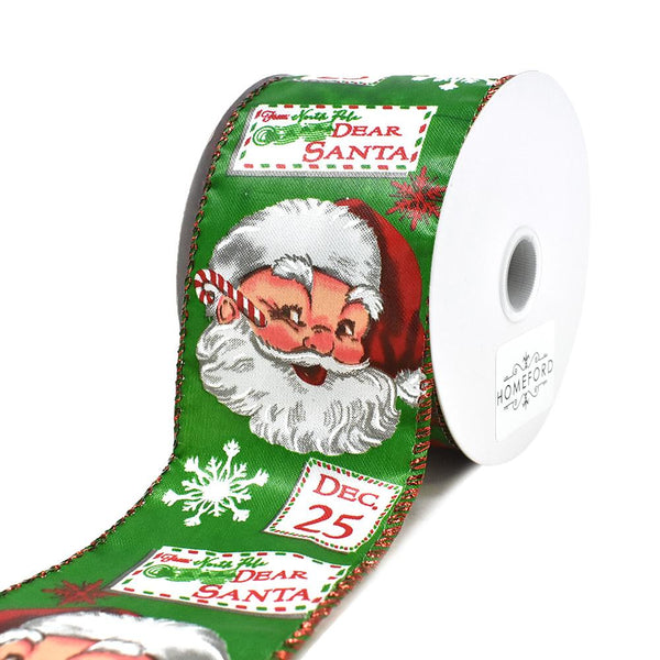 12-Pack, Christmas Vintage Letters to Santa Wired Ribbon, 2-1/2-Inch, 10-Yard