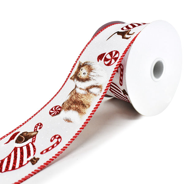 Candy Cane Dog Linen Wired Edge Christmas Ribbon, White, 2-1/2-Inch, 10-Yard