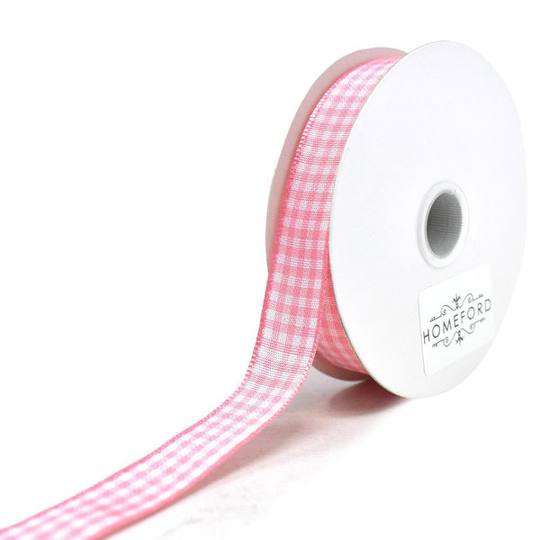 Country Check Pattern Ribbon, Pink, 5/8-Inch, 10-Yard