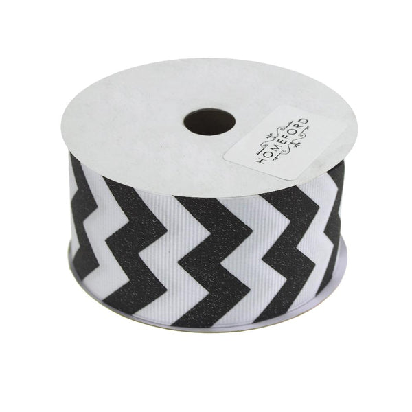 Sugar Chevron White Grosgrain Ribbon, 1-1/2-Inch, 3 Yards, Black