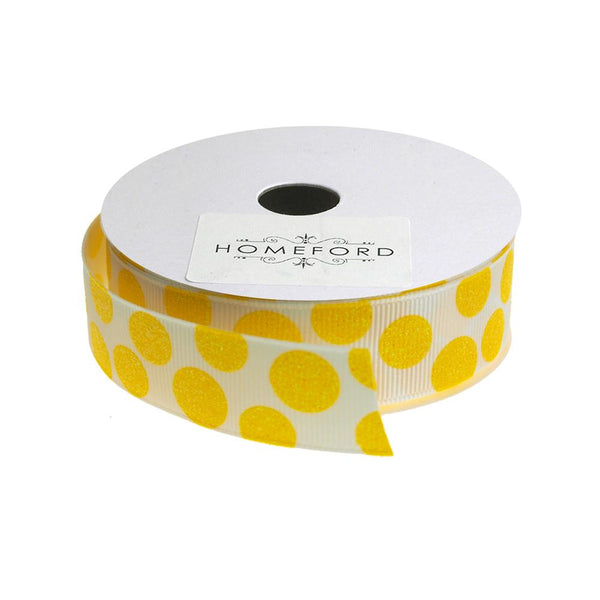 Sugar Dots Grosgrain Ribbon, 7/8-Inch, 4 Yards, White/Daffodil