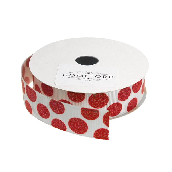 Sugar Dots Grosgrain Ribbon, 7/8-Inch, 4 Yards, White/Red