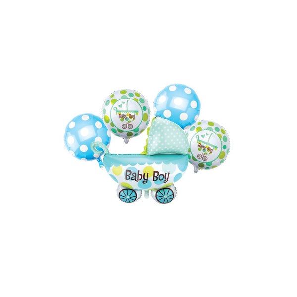 Jumbo Baby Carriage Foil Balloon, 24-Inch, 5-Piece, Blue