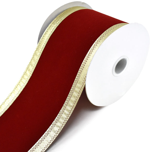 Velvet Dynasty Wired Edge Christmas Ribbon, Scarlet, 4-Inch, 10-Yard