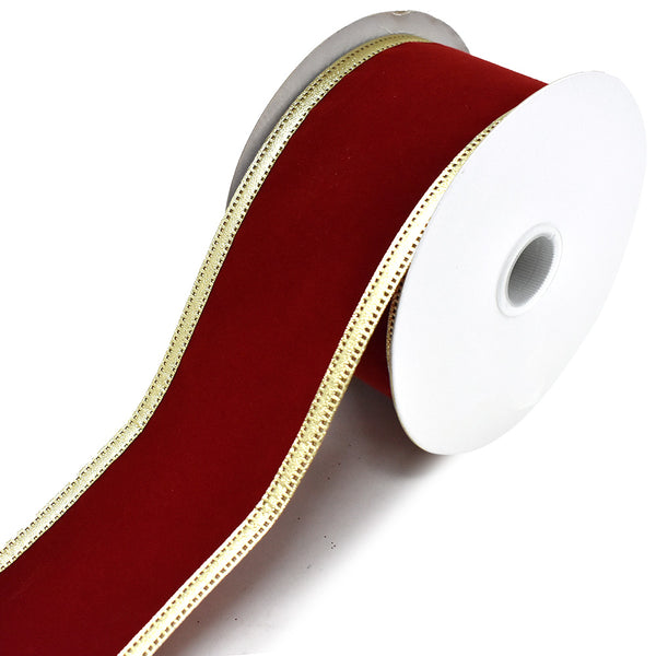 Velvet Dynasty Wired Edge Christmas Ribbon, Scarlet, 2-1/2-Inch, 10-Yard