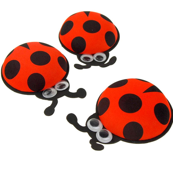 12 Pack, Foam Ladybug Favors with Googly Eyes, Red, 4-1/2-Inch, 10 Count