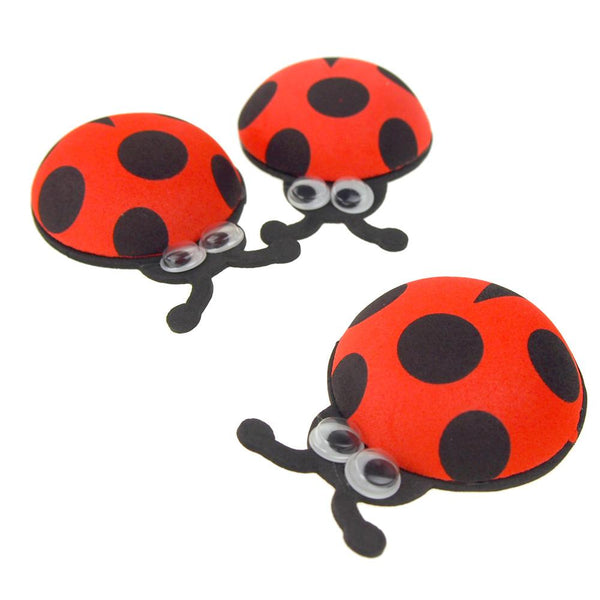 12 Pack, Foam Ladybug Favors with Googly Eyes, Red, 2-3/4-Inch, 10 Count