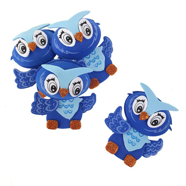 3D Owl Craft Foam Cutouts, Blue, 3-Inch, 10-Count