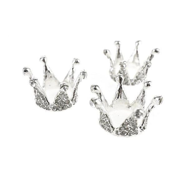 12-Pack, Mini Princess Rhinestone Crown Embellishments, Silver, 1-Inch, 3-Piece