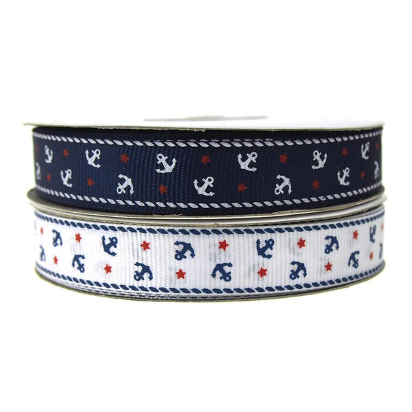 12-Pack, Nautical Anchor and Star Grosgrain Ribbon, 5/8-Inch, 25-Yard