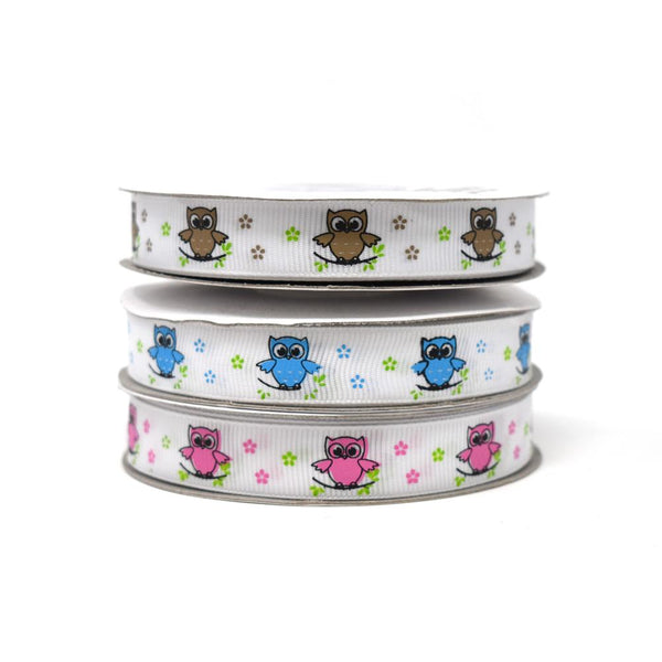 12-Pack, Floral Owl on Branch Grosgrain Ribbon, 5/8-Inch, 25-Yard