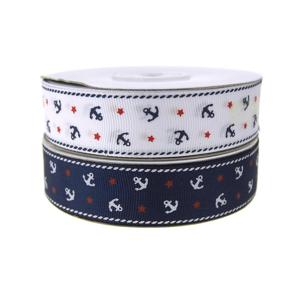Nautical Anchor and Star Grosgrain Ribbon, 7/8-Inch, 25-Yard