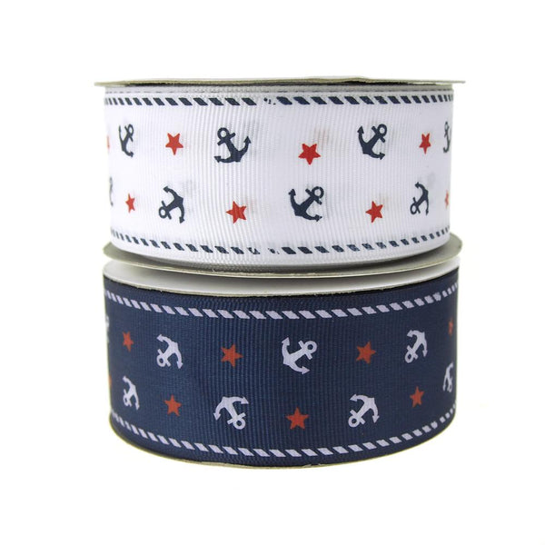 12-Pack, Nautical Anchor and Star Grosgrain Ribbon, 1-1/2-Inch, 25-Yard