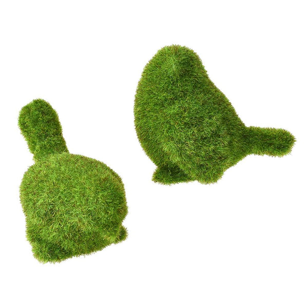 12-Pack, Mini Artificial Moss Bird Topiary Decor, Green, Assorted Sizes, 2-Piece