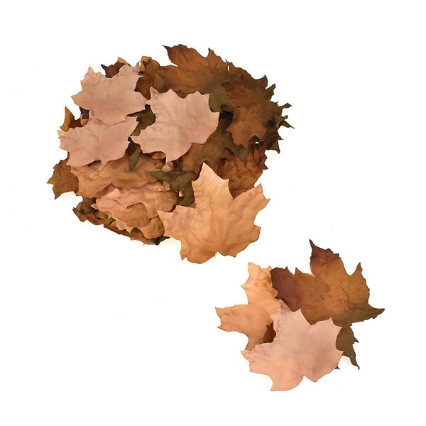 Artificial Fall Dry Maple Leaves, Brown, Assorted Sizes, 45-Piece