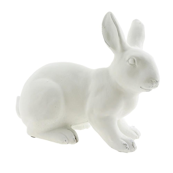 Outdoor Sitting Bunny Figurine, White, 11-Inch