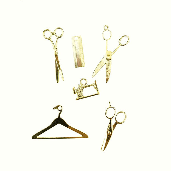 Scissor, and Sewing Charms, Gold, Assorted Sizes, 6-Piece
