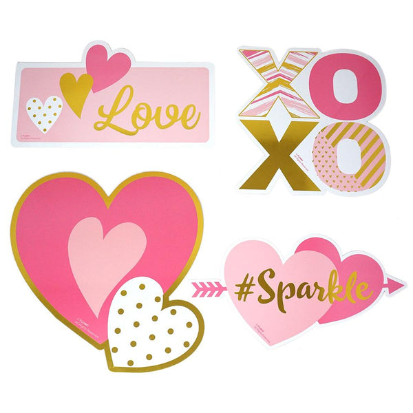 Valentine Cut Outs with Hot Stamping, 4-Piece