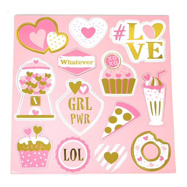 12-Pack, Valentine Magnets with Hot Stamping, 13-Piece