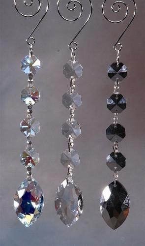Acrylic Chandelier Crystals, Almond Link, 7-Inch, Silver