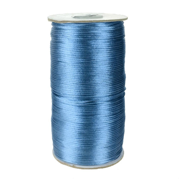 Satin Rattail Cord Chinese Knot, 1/16-Inch, 200 Yards, Antique Blue