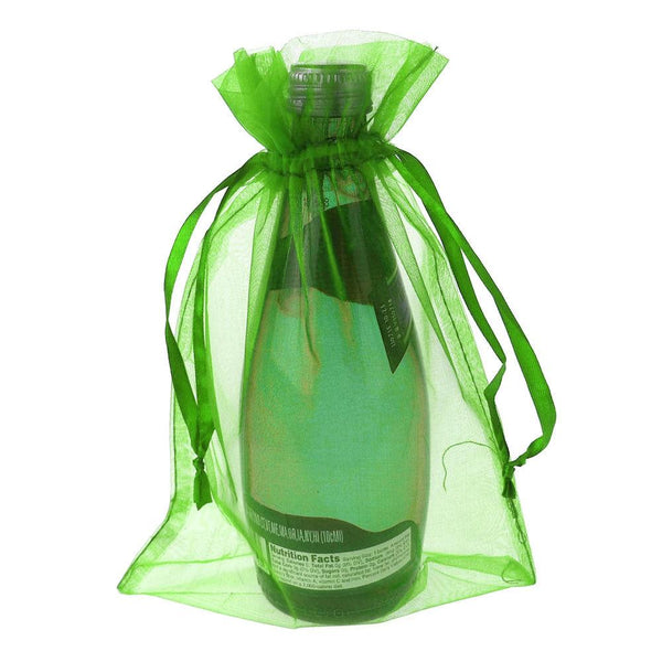Organza Favor Pouch Bag, 6-Inch x 9-Inch, 6-Count, Apple Green
