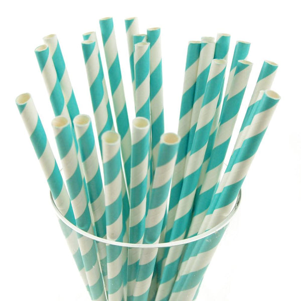 12-Pack, Candy Striped Paper Straws, 7-3/4-inch, 25-Piece, Aqua/White