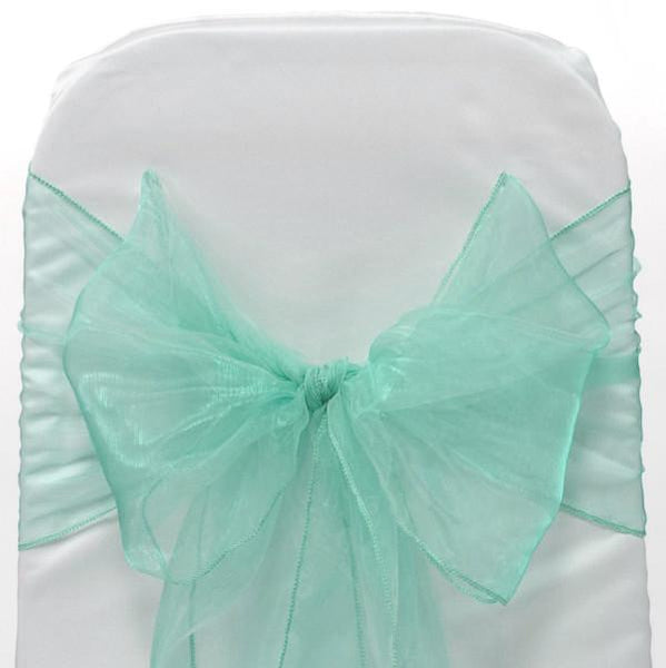 12-Pack, Organza Chair Bow Sash, 9-inch, 10-feet, 6-piece, Aqua