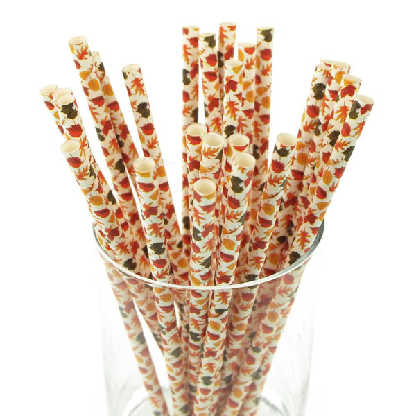 12-Pack, Autumn Leaves Paper Straws, 7-3/4-inch, 25-Piece