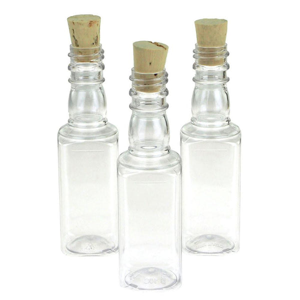 12-Pack, Plastic Pet Corked Jar Bottles, Liquor, 4-Inch, 12-Piece