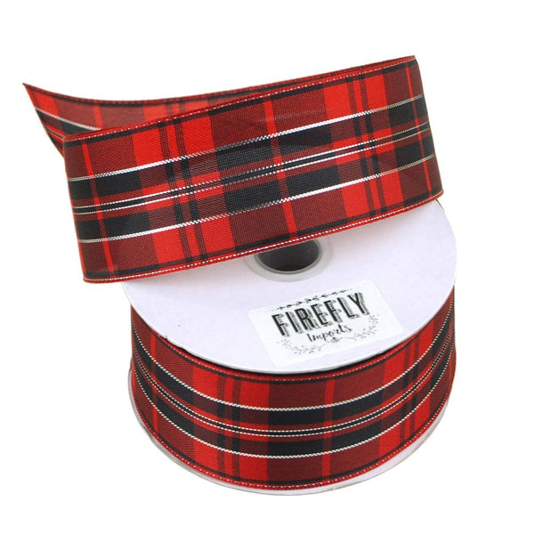Plaid Checkered Holiday Christmas Ribbon Wired Edge, 1-1/2-Inch, 10 Yards, Black/Red