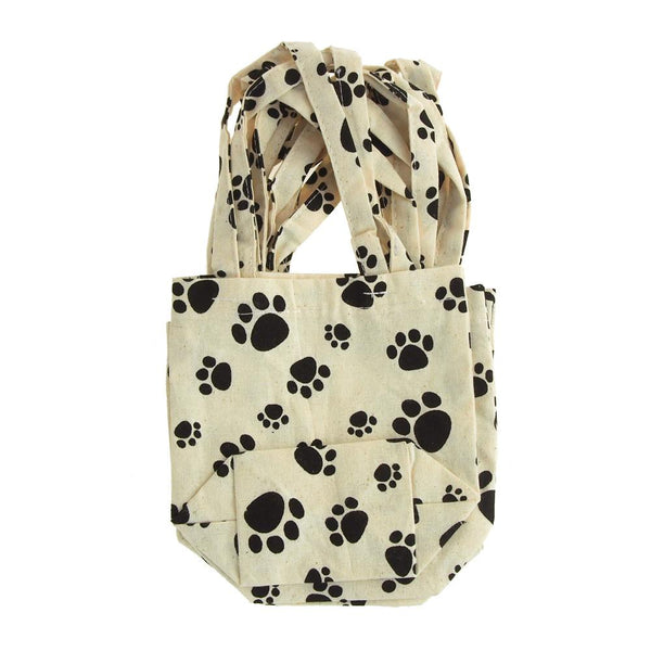 Animal Paw Print Cotton Tote Bag, 5-Inch, 6-Piece