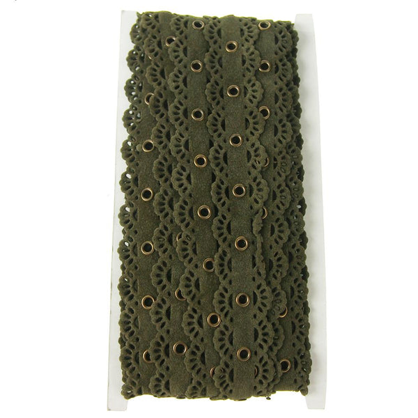 Suede Cut Eyelet Scalloped Edge with Grommet, 2-1/2-Inch, 10 Yards, Olive