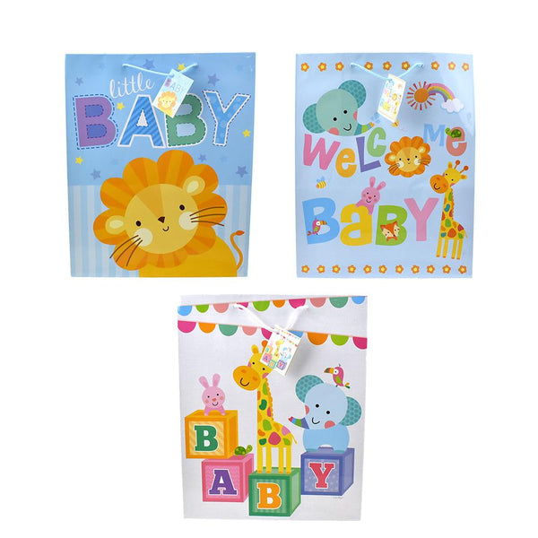 Safari Animal Friends Baby Shower Gift Bags, 12-3/4-Inch, 3-Piece