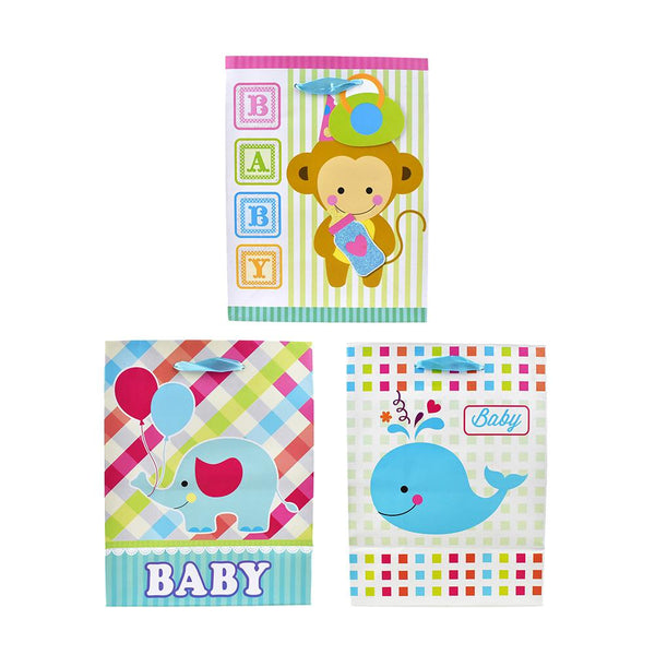 Animal Celebration Baby Shower Gift Bags, 9-3/4-Inch, 3-Piece