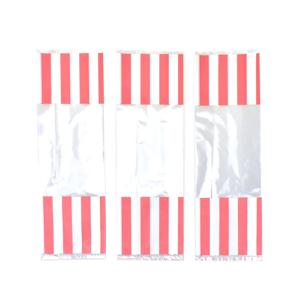 Striped Slim Party Favor Bags, Light Pink, 10-3/4-Inch, 12-Count