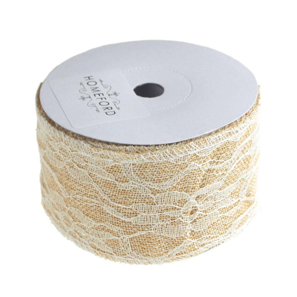 12-Pack, Faux Burlap Ribbon Lace Overlay, 2-1/2-inch, 10 Yards, Ivory