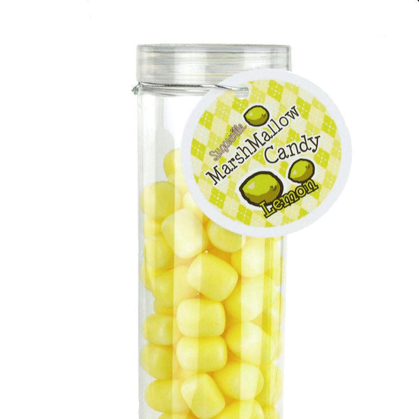 12-Pack, Marshmallow Candy Plastic Tube Party Favor, 200-gram, 12-Inch, Lemon