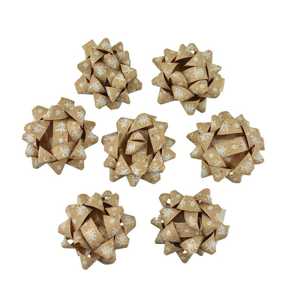 Self-Adhesive Pre-tied Star Bows, 2-Inch, 25-Piece, Kraft Paper/ White Christmas Trees