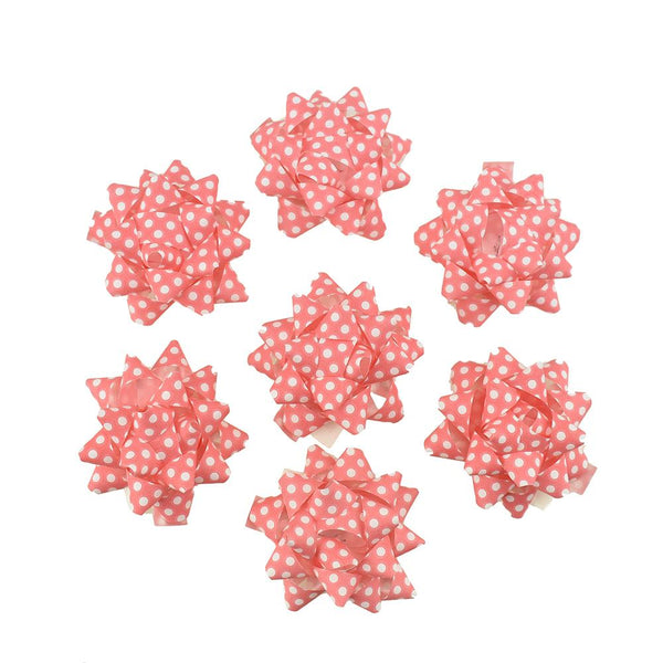 Self-Adhesive Pre-tied Star Bows, 2-Inch, 25-Piece, Pink/ White Dots
