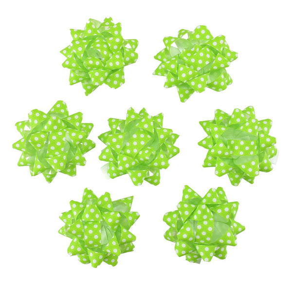 Self-Adhesive Pre-tied Star Bows, 2-Inch, 25-Piece, Green/White Dots
