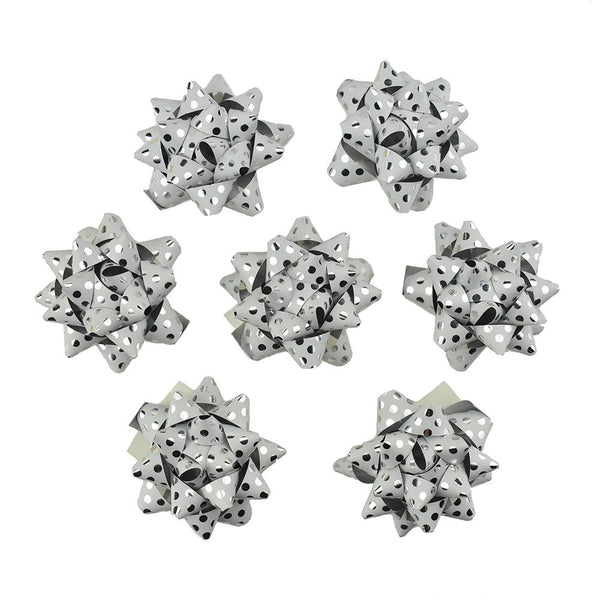 Self-Adhesive Pre-tied Star Bows, 2-Inch, 25-Piece, White/ Metallic Silver Dots
