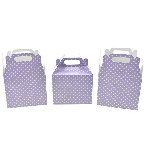 12-Pack, Polka Dot Patterned Party Favor Boxes, Lavender, 4-3/4-Inch, 3-Count