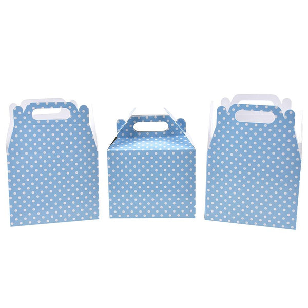 12-Pack, Polka Dot Patterned Party Favor Boxes, Light Blue, 4-3/4-Inch, 3-Count